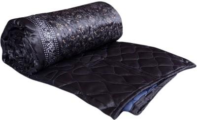 OM PRINTS Self Design Double Quilts & Comforters Light Blue