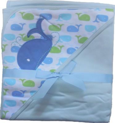 BornBabyKids Printed Single Hooded Baby Blanket Light Blue