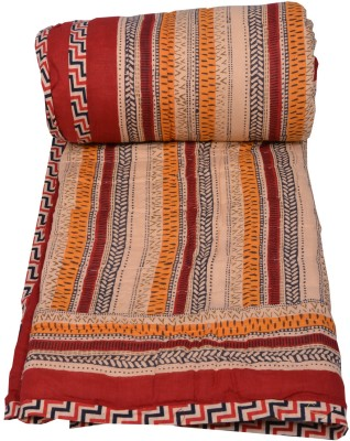 Chhipa Prints Striped Single Quilts & Comforters Red