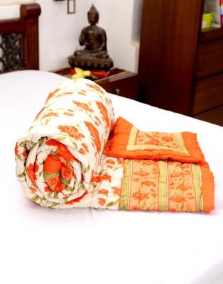Jodhaa Floral Double Quilts & Comforters Orange