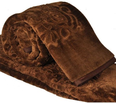 Ndecor Plain Double Blanket Brown