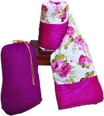 RajLaxmi Floral Single Quilts & Comforters Pink, White
