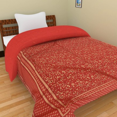 Shra Floral Single Quilts & Comforters Red, Gold