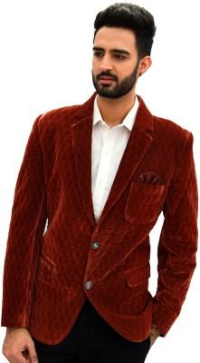 Men In Class Self Design Tuxedo Style Party Men's Blazer