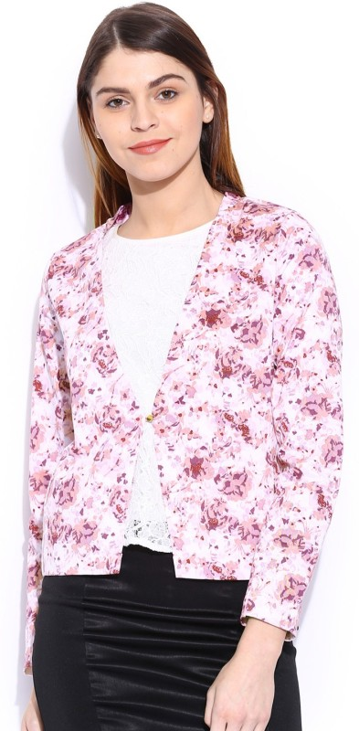 Mast & Harbour Printed Single Breasted Casual Women's Blazer(White)