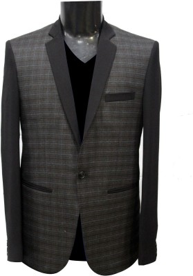 KM-NX Checkered Double Breasted Casual Men's Blazer