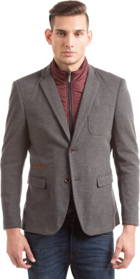 Shuffle Solid Single Breasted Casual Men,s Blazer