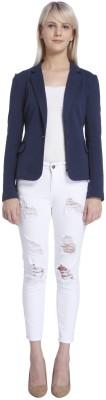 Vero Moda Solid Single Breasted Casual Womens Blazer(Dark Blue)
