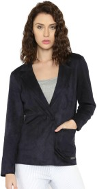 Mast & Harbour Solid Single Breasted Casual Women's Blazer(Dark Blue)