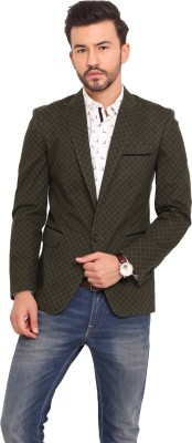 Exitplay Printed Single Breasted Party, Casual Men's Blazer