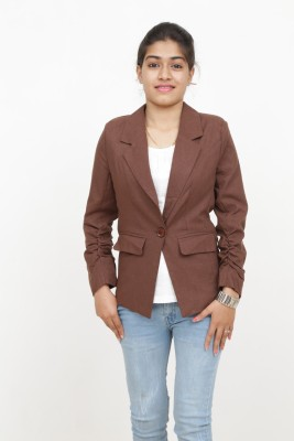 Loto Solid Single Breasted Casual, Party, Formal Women's Blazer