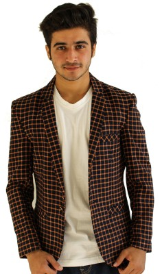Loto Checkered Single Breasted Casual, Party, Wedding, Festive Men's Blazer