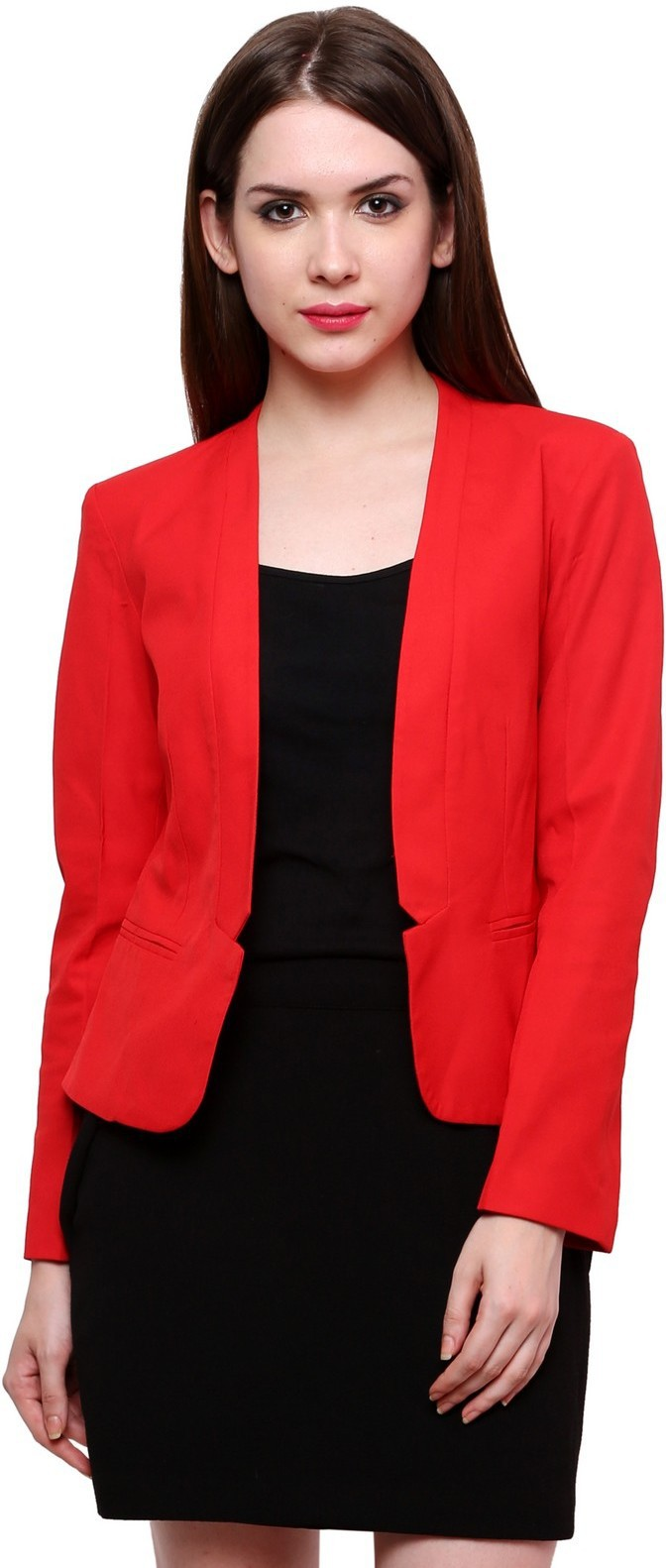 Pannkh Solid Single Breasted Casual Womens Blazer(Red)