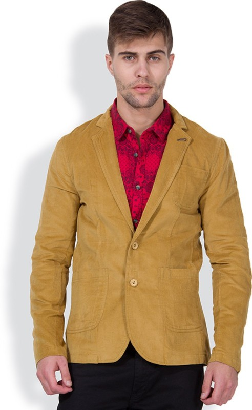 The Indian Garage Co. Solid Single Breasted Casual Men's Blazer(Brown)