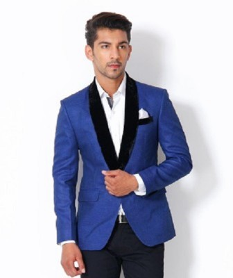 Menjestic Solid Tuxedo Style Wedding Men's Blazer