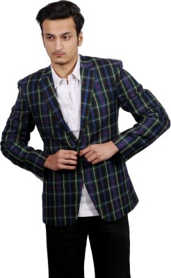 FADJUICE Checkered Single Breasted Wedding, Casual, Party, Lounge Wear, Festive Men's Blazer