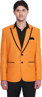 Favoroski Solid Double Breasted Party Men's Blazer