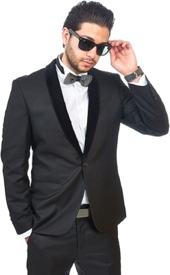 Menjestic Solid Tuxedo Style Party Men's Blazer