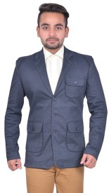 GDS Solid Single Breasted Casual Men's Blazer(Blue)