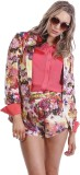 Paint It Red Floral Print Single Breaste...
