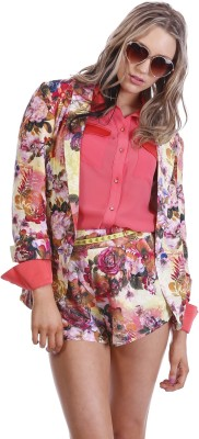 Paint It Red Floral Print Single Breasted Party Women's Blazer