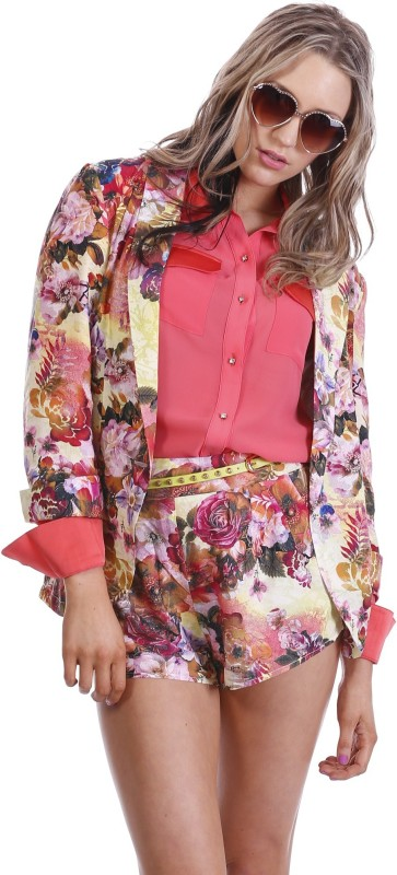 Paint It Red Floral Print Single Breasted Party Women's Blazer(Multicolor)