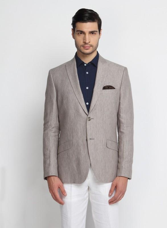 Suit Ltd Striped Single Breasted Casual Men's Blazer(Beige)