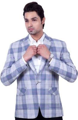 Dresscode Checkered Single Breasted Wedding, Casual, Party Men's Blazer