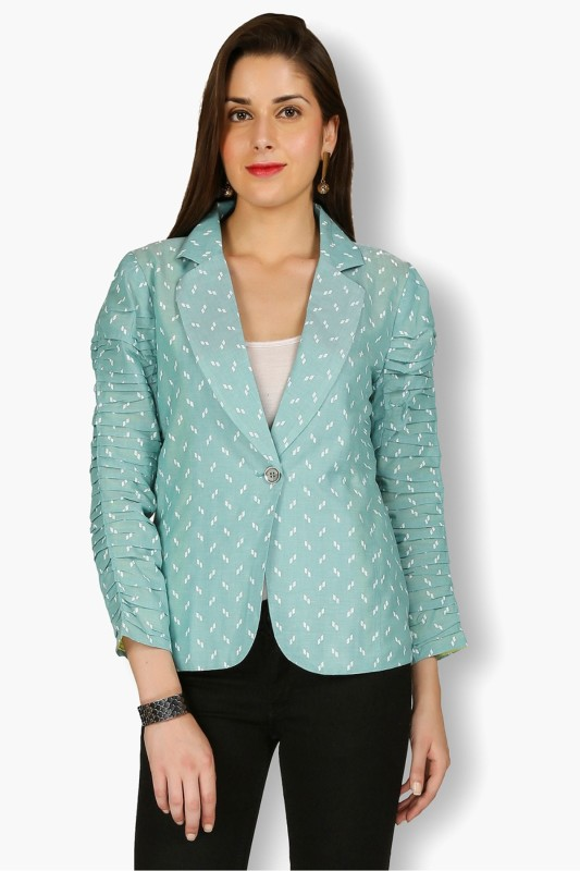 Free Spirited Printed Mandarin Casual Women's Blazer(Green)