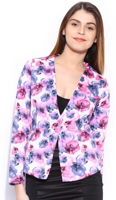 Mast & Harbour Printed Single Breasted Casual Women's Blazer