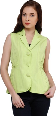 Oxolloxo Solid Single Breasted Casual Women's Blazer(Green) at flipkart