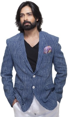 Abhivani Striped Single Breasted Festive Men's Blazer