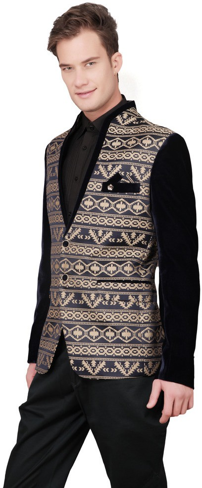 Ajay Arvindbhai Khatri Printed Tuxedo Style Wedding Men's Blazer(Gold, Blue)