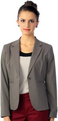 Van Heusen Solid Single Breasted Formal Women's Blazer(Grey) at flipkart