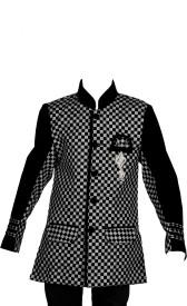 J.D.Creation Checkered Single Breasted Festive Boys Blazer(Black)