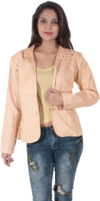 Bleu Solid Single Breasted Casual Women's Blazer
