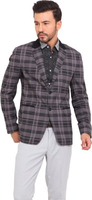 Exitplay Checkered Single Breasted Party, Casual Men's Blazer
