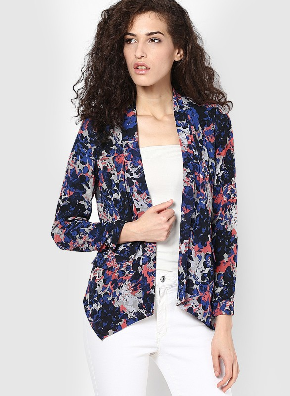 Only Printed Single Breasted Casual Women's Blazer(Blue)