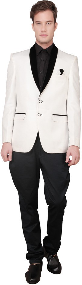 Ajay Arvindbhai Khatri Solid Tuxedo Style Wedding Men's Blazer(White)