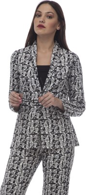 @499 Graphic Print Single Breasted Casual, Formal Women's Blazer