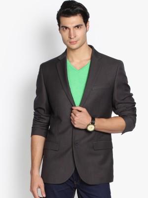 Black Coffee Solid Single Breasted Formal Men's Blazer