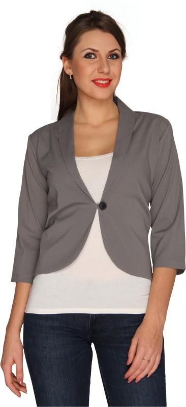 Bedazzle Solid Single Breasted Casual Women's Blazer(Grey)