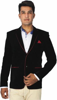 China Collection Solid Tuxedo Style Party Men's Blazer