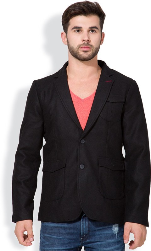 The Indian Garage Co. Solid Single Breasted Casual Men's Blazer(Black)