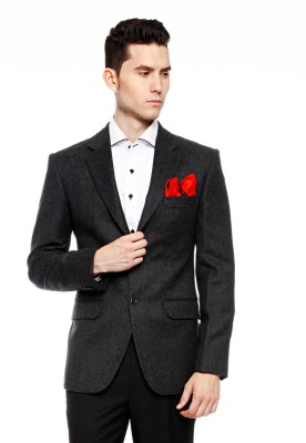 Brahaan Blue Tag Solid Single Breasted Formal Men's Blazer