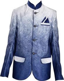 J.D.Creation Self Design Single Breasted Festive Boy's Blazer(Light Blue)