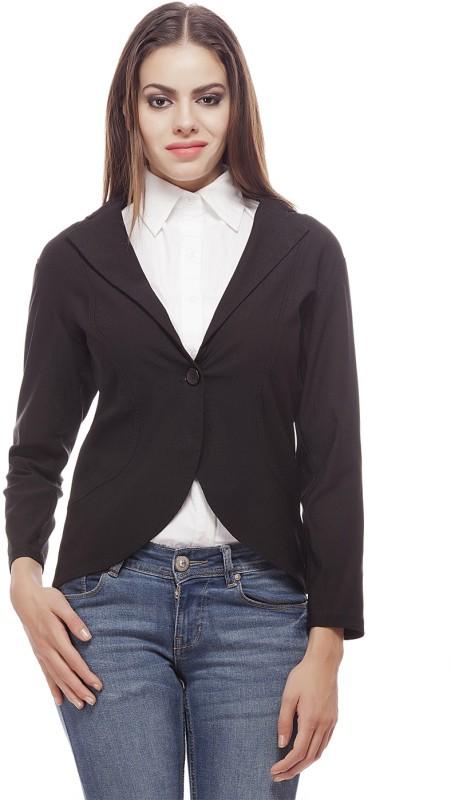 Peptrends Solid Single Breasted Formal Women's Blazer(Black)
