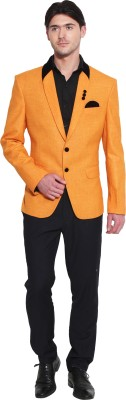 Favoroski Solid, Self Design Single Breasted Party, Wedding, Casual, Festive, Lounge Wear Men's Blazer