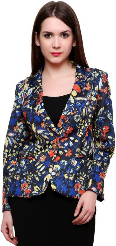 Pannkh Printed Single Breasted Casual Women's Blazer(Blue)