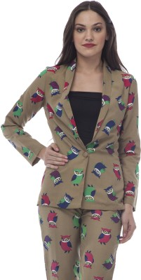 @499 Animal Print Single Breasted Casual, Formal Women's Blazer
